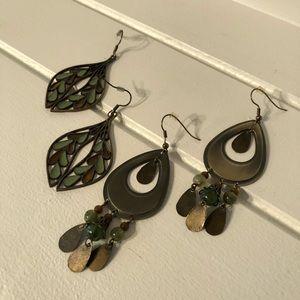 Brass Bronze & Green Earth Color Dangle Earrings
